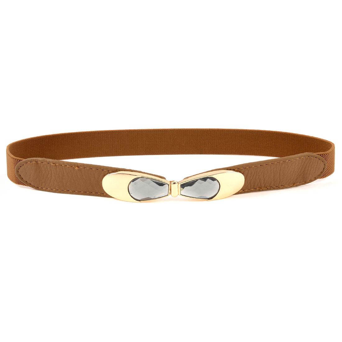 Woman Bowknot Design Interlock Buckle Stretchy Band Waistbelt Cinch Belt Brown