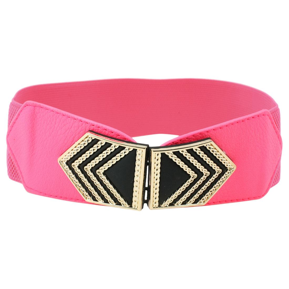 Women Arrow Design Metal Interlocking Buckle Elastic Waist Belt Band Hot Pink