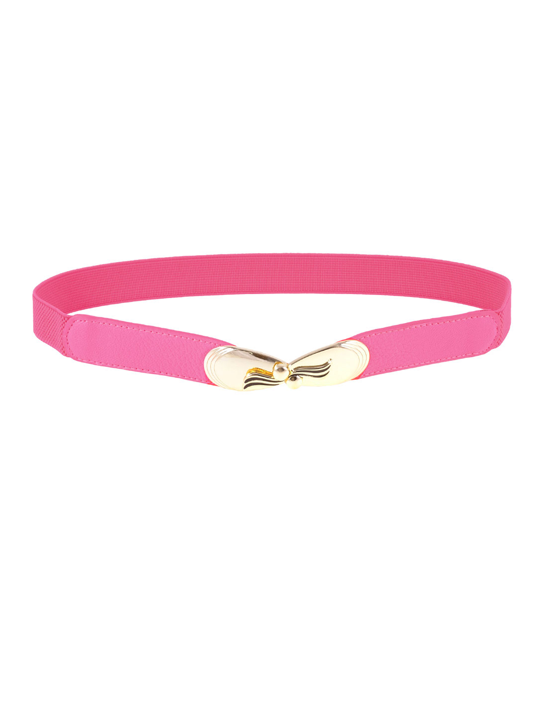 Women Gold Tone Bowknot Decor Hot Pink Elastic Skinny Waist Belt Band