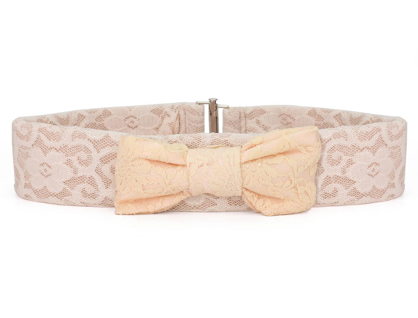 Ladies Light Pink Bowknot Decor Lace Flower Elastic Waist Belt Band 66cm Long