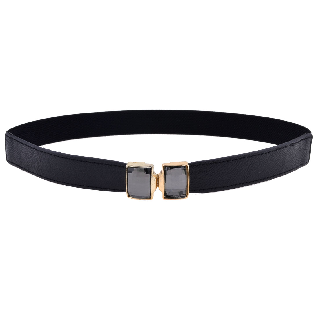 Plastic Craystal Accent Interlocking Buckle Elastic Waist Belt Black for Ladies