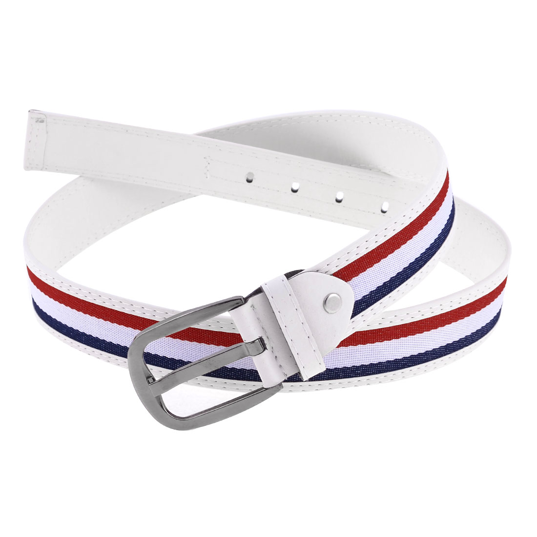 Unsiex Single Pin Buckle Faux Leather Tri Color Waist Belt Band