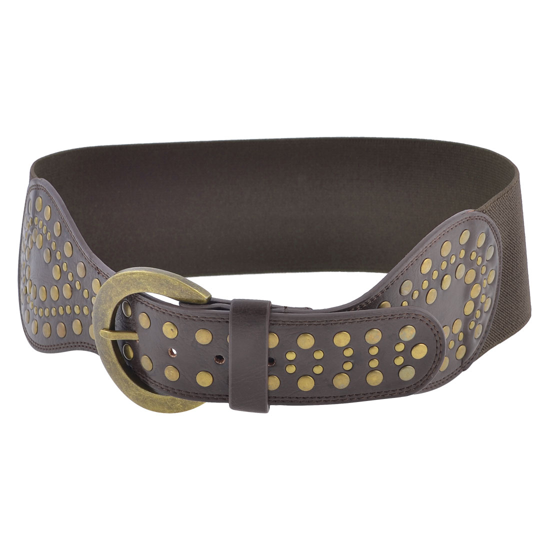 Rivet Detailing Single Pin Buckle Brown Elastic Cinch Waist Belt for Woman