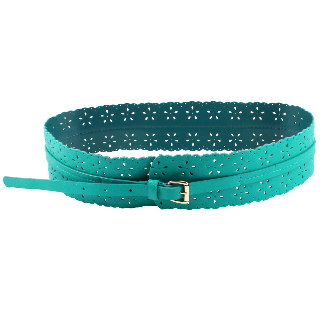 Ladies One Pin Hollow Out Floral Faux Leather Adjustable Waist Belt Turquoise
