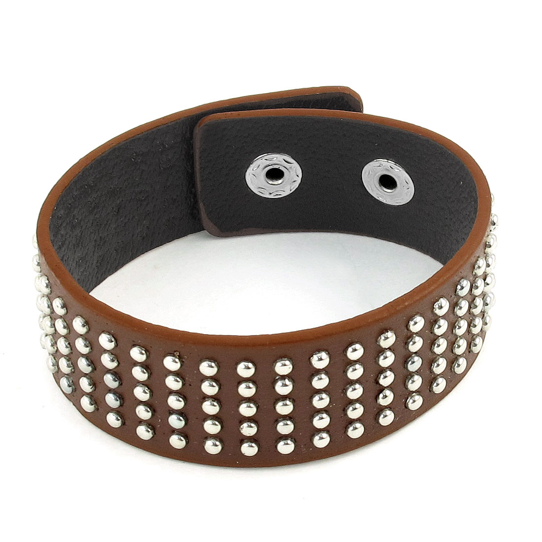 Woman Man Mini Round Metal Studs Detail Brown Faux Leather Bracelet Wristband
