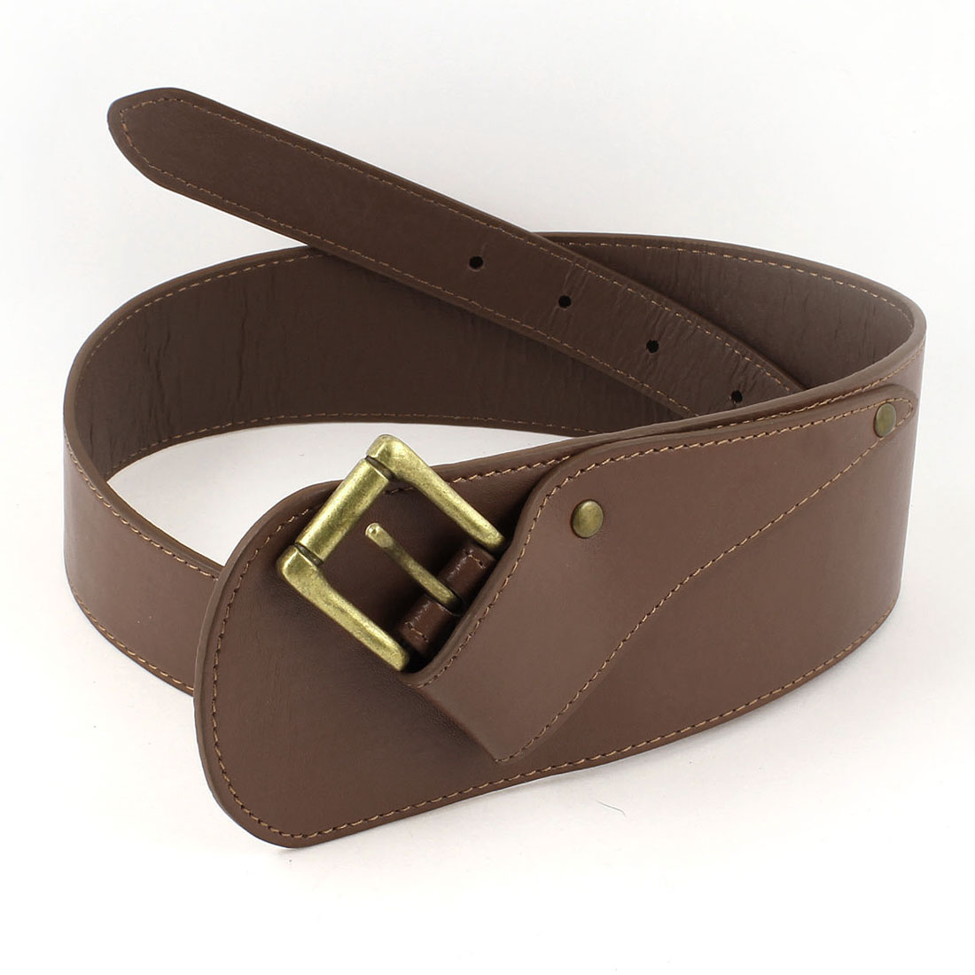 One Prong Buckle Adjustable Faux Leather Waist Belt Brown for Ladies