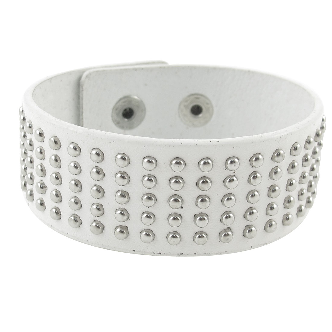 Press Stud Button White Faux Leather Bracelet Wrist Band Ornament for Unisex
