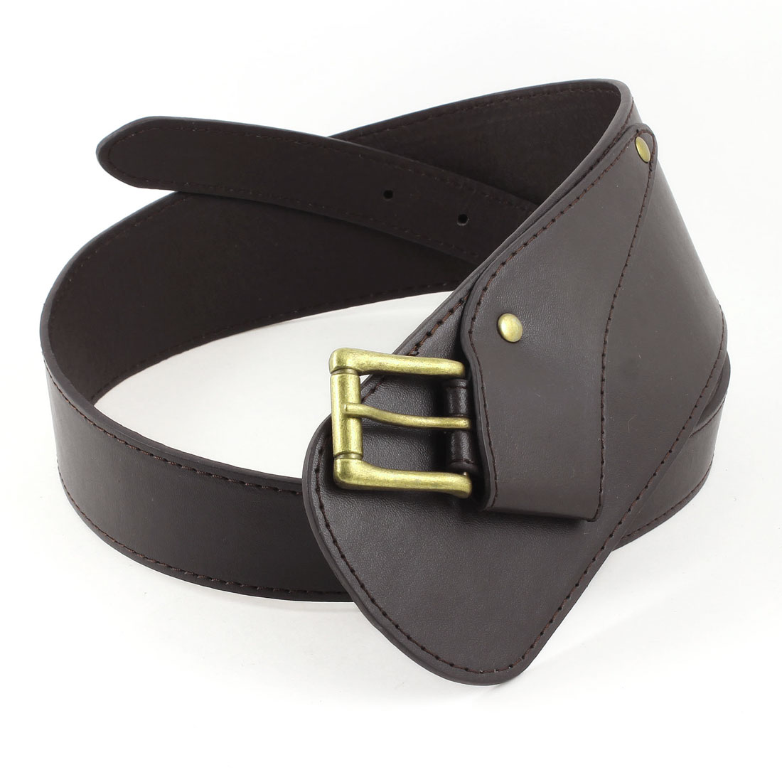 Single Pin Buckle Faux Leather Adjustable Waist Belt 7mm 2.5cm Wide Coffee Color