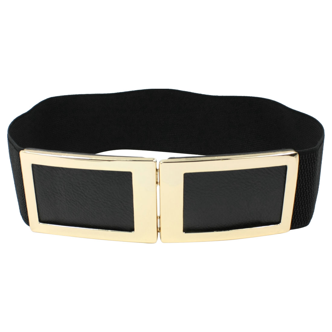 Ladies Rectangle Shaped Metal Interlocking Buckle Elastic Waist Belt Black