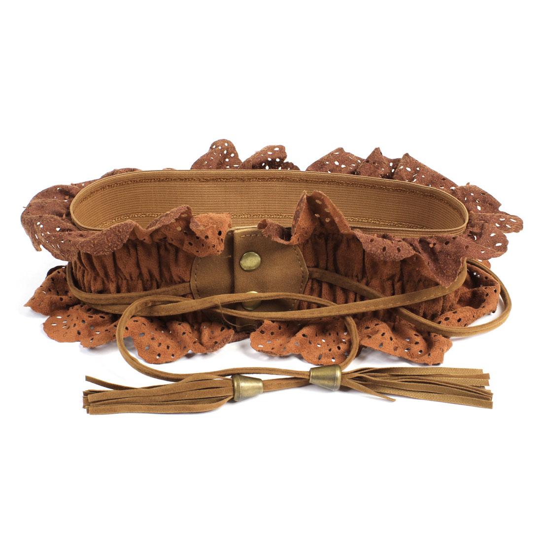Ladies Button Up Elastic Fabric Waist Belt Brown
