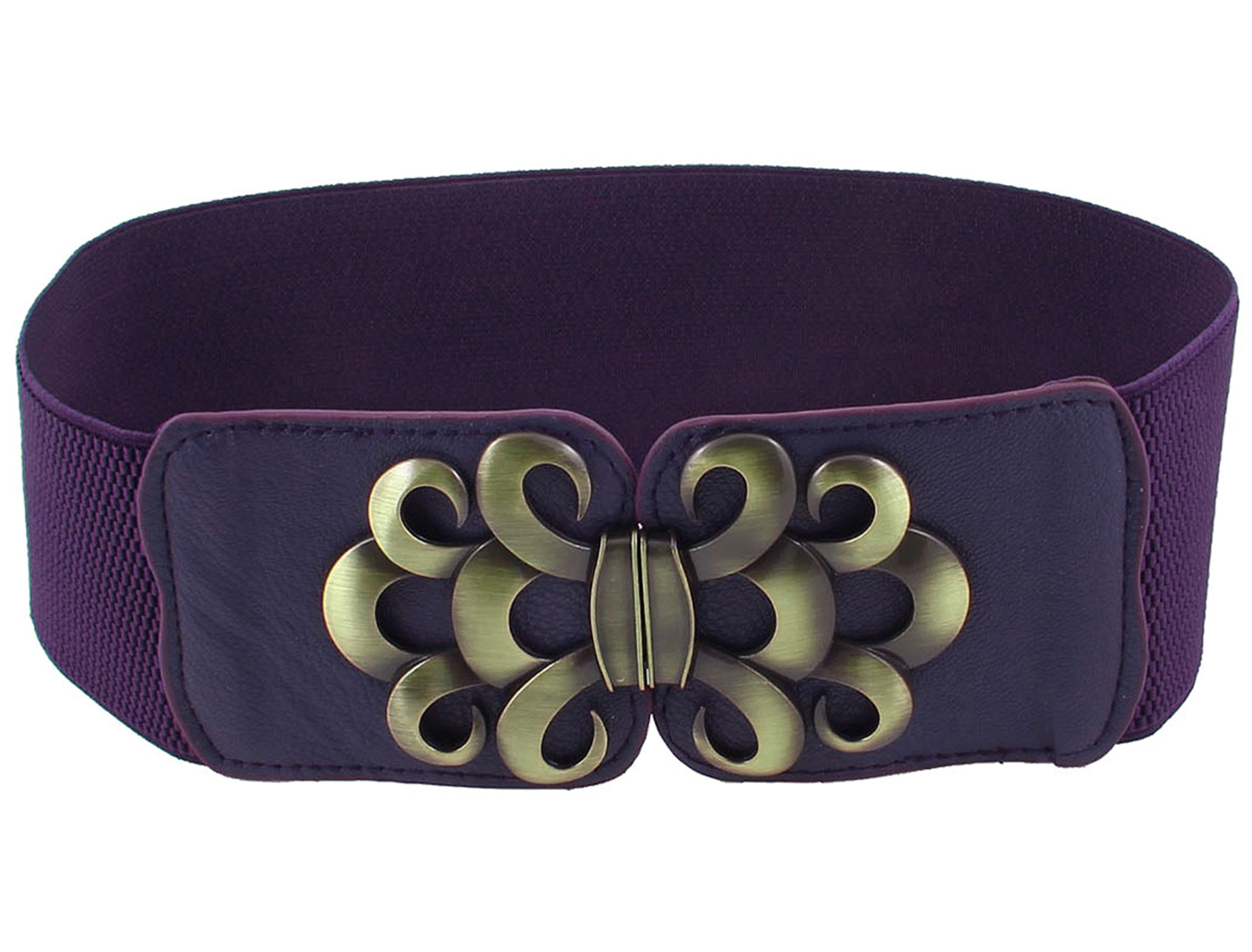 Bronze Tone Flower Accent Leopard Print Textured Stretchy Belt Purple for Woman