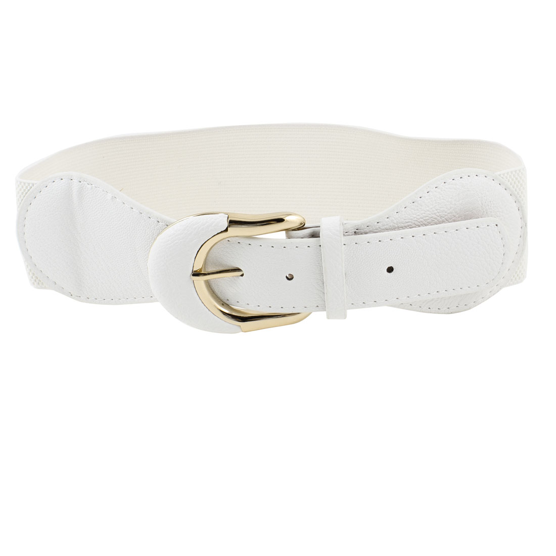 Lady Woman Metal Single Pin Buckle Textured Elastic Cinch Belt White