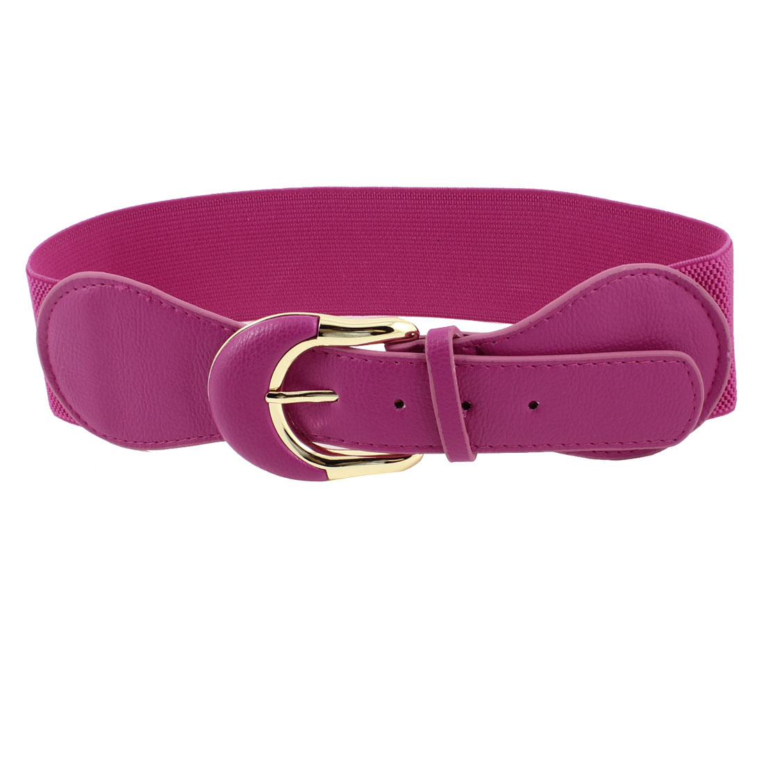 Faux Leather Single Prong Buckle Stretchy Waist Belt Fuchsia for Women