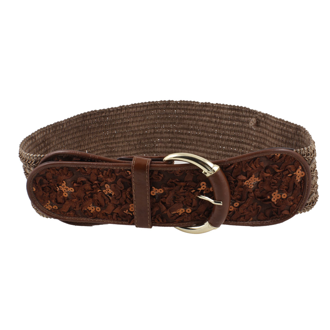 Woman One Pin Buckle Flower Decor Stretchy Band Cinch Belt Brown