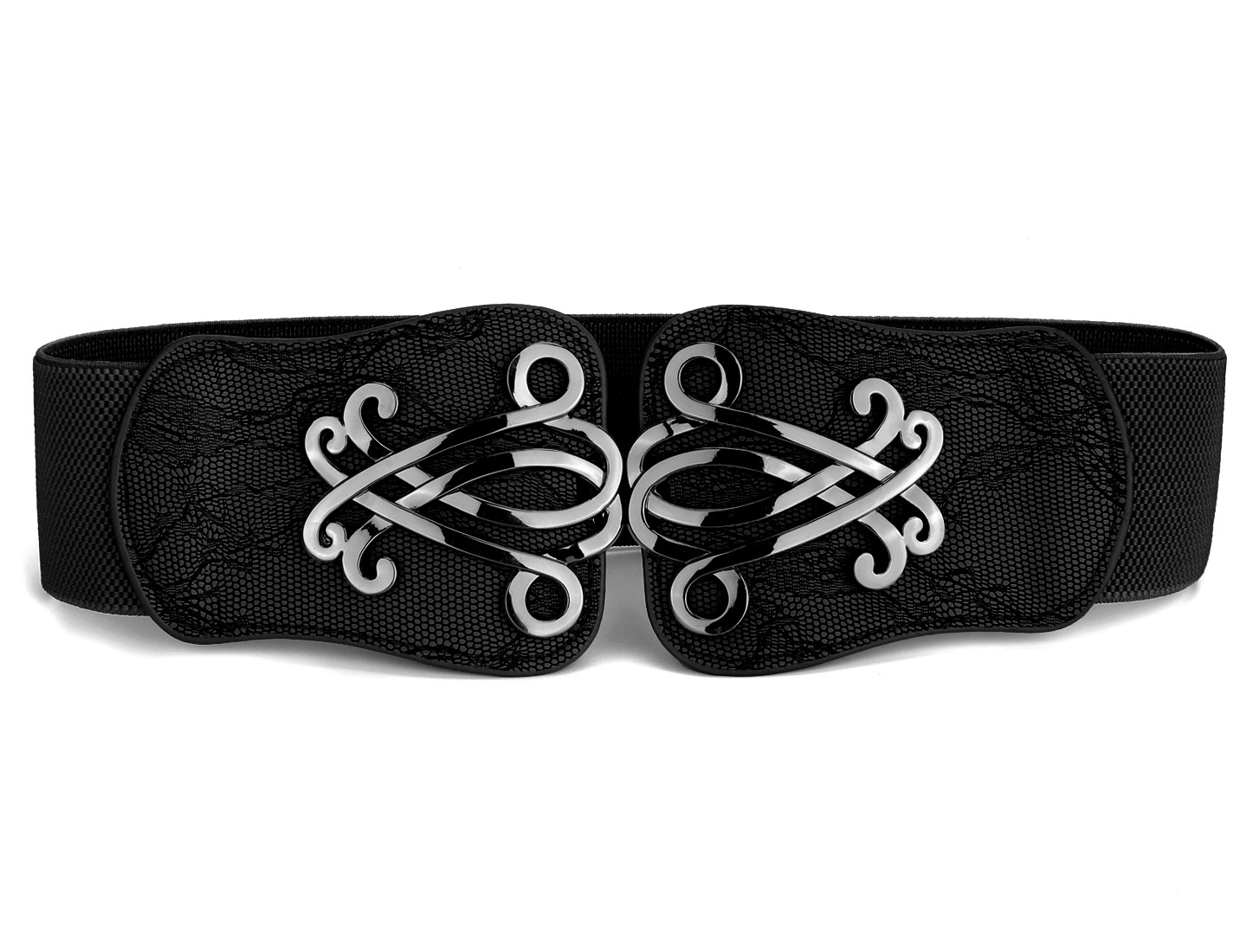 Woman Faux Leather Front 6cm Wide Interlock Buckle Stretchy Waist Belt Black