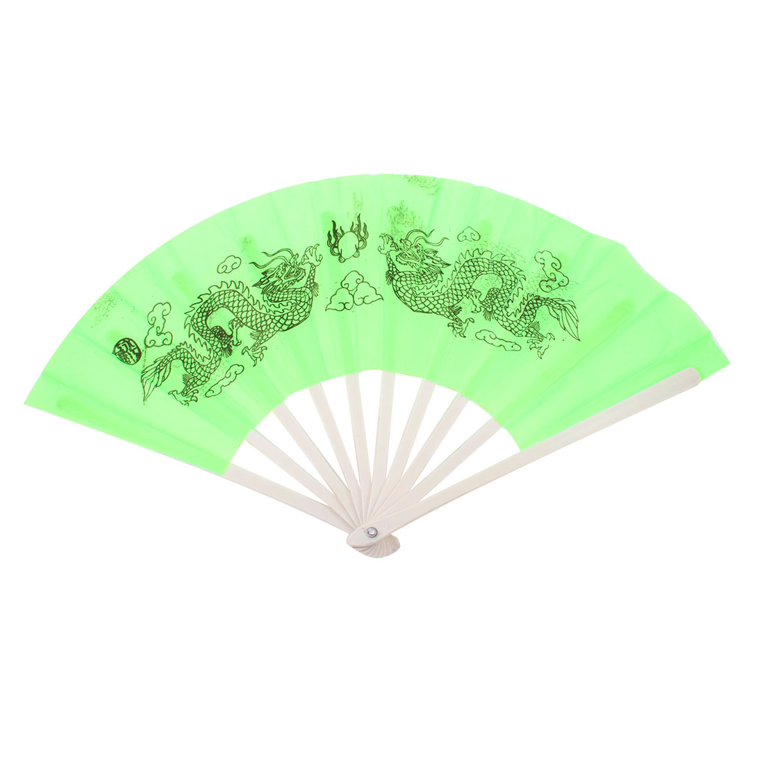 "Dragon Pattern 19"" Width Nylon Fabric Dancing Folding Hand Fan Green"