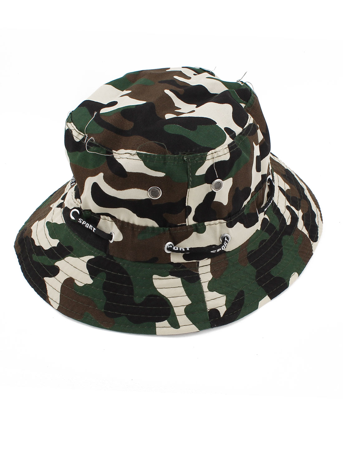 Lady Man Camouflage Print Stitch Decoration Bucket Cap Hat Arym Green