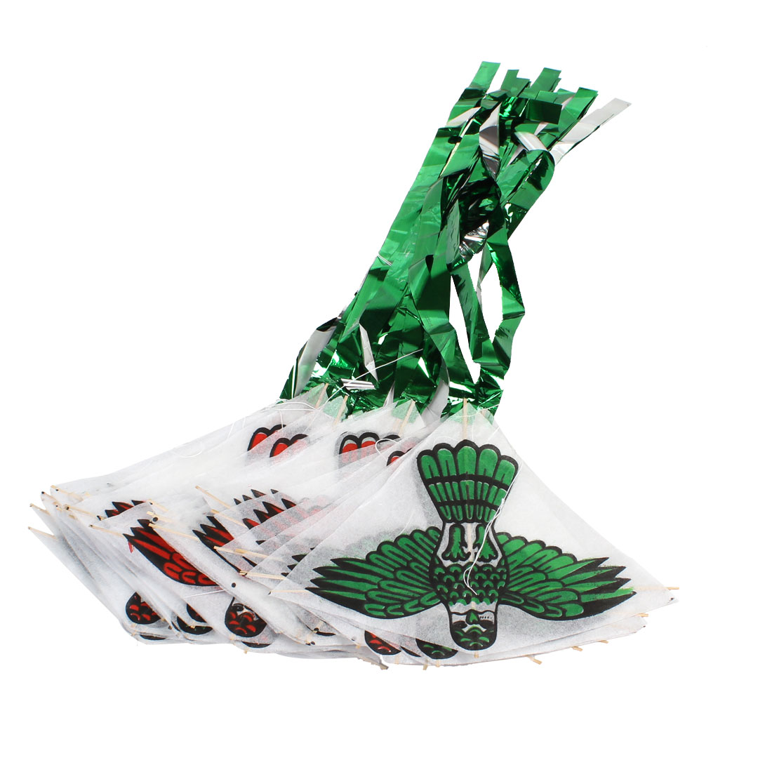 30 in 1 7.6ft Long White Paper Green Red Eagle Print Kite Toy w String