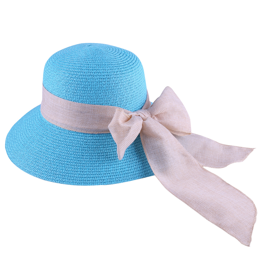 Woman Fashionable Sky Blue Self Tie Bow Decor Straw Woven Sun Hat