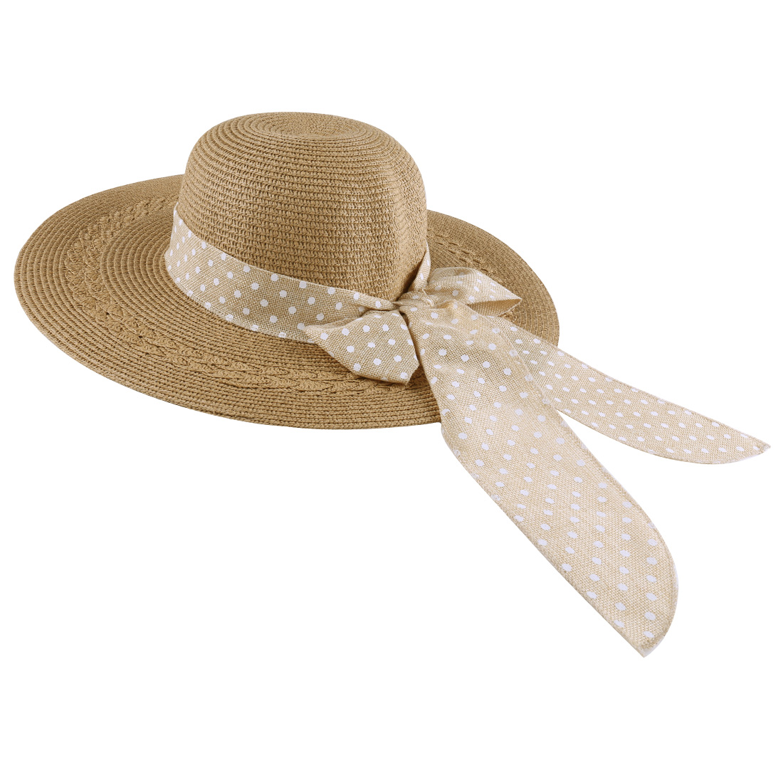 Woman Fashion Elastic Buckle Adjust Neck Strap Design Light Brown Sun Hat
