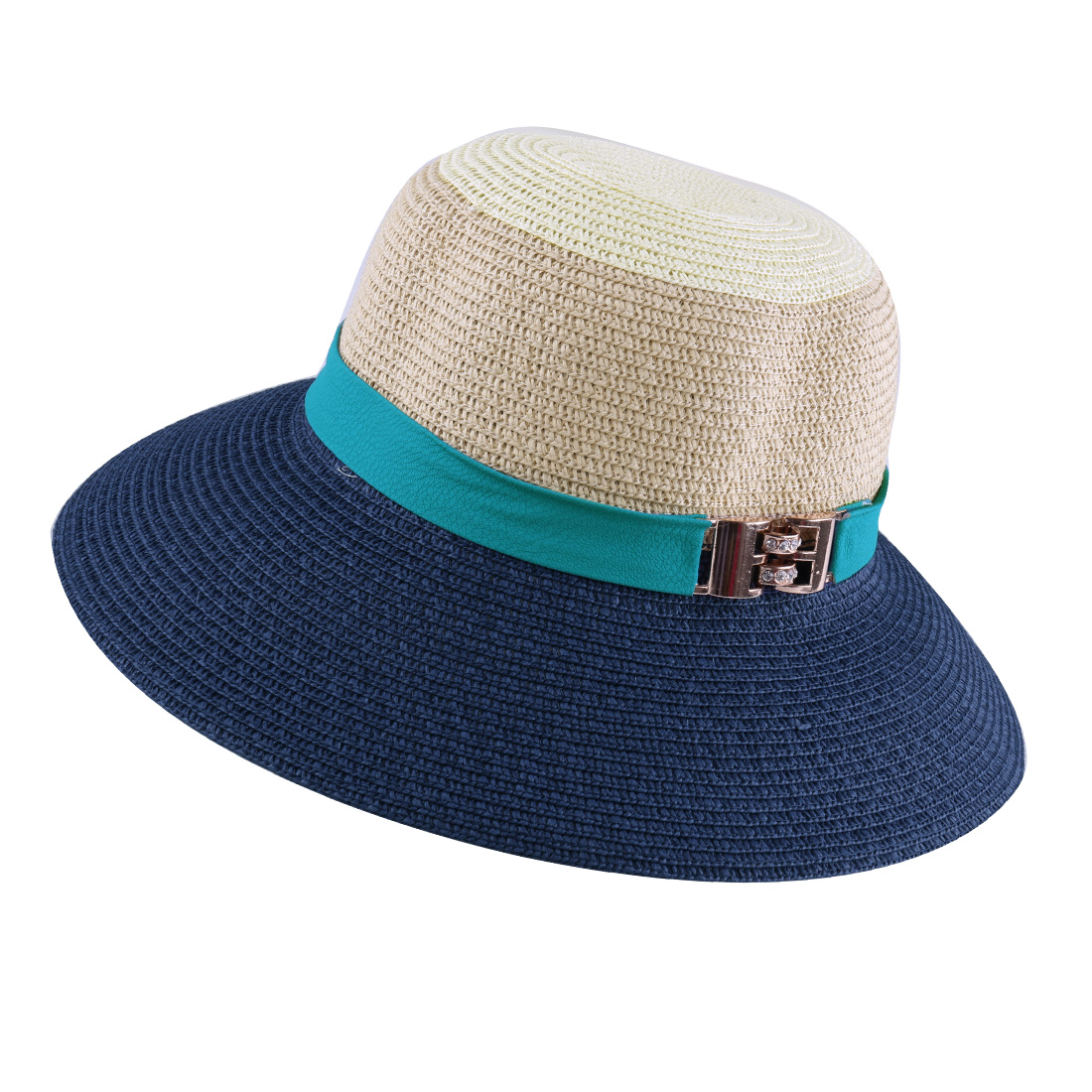 Ladies Wide Brim Stitching Straw Color Block Beach Sun Hat Navy Blue Beige