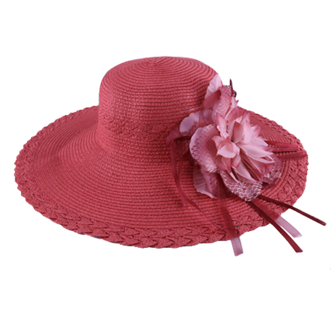 Ladies Wide Brim Flower Embellished Beach Sun Hat Brick Red