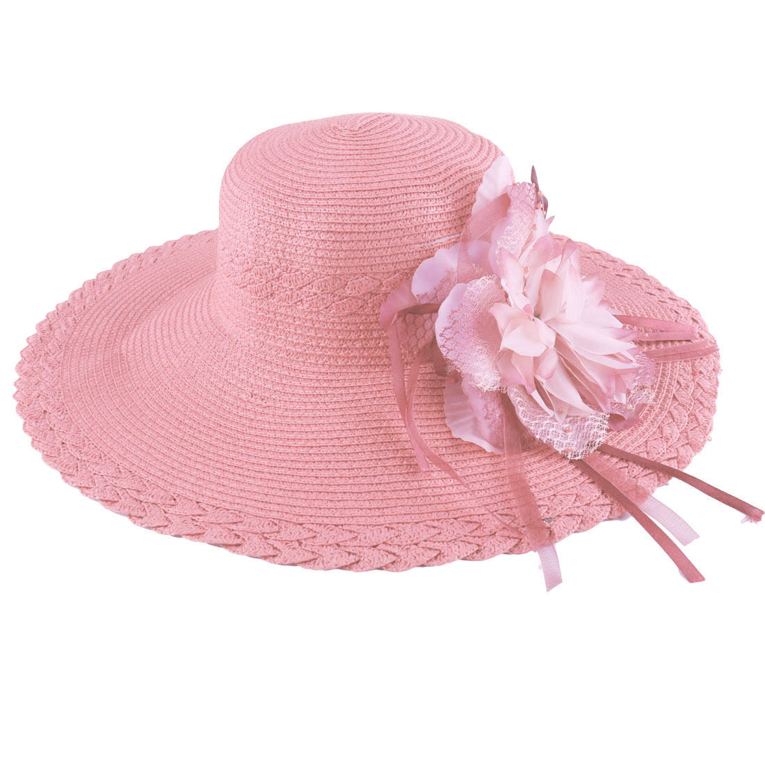 Ladies Elastic Neck Strap Textured Woven Straw Beach Sun Hat Pink