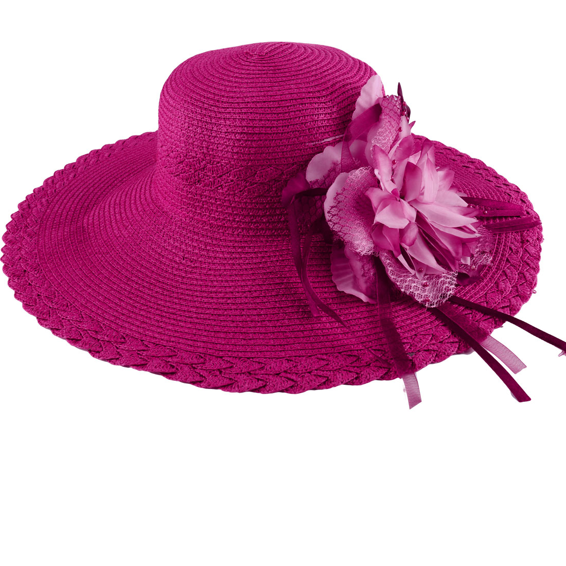 Ladies Braid Flower Embellished Beach Sun Hat Fuchsia