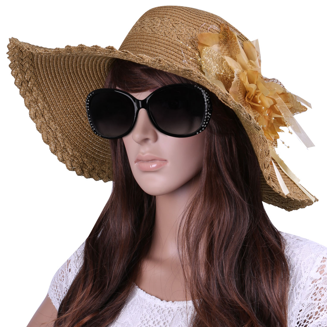 Ladies Wide Brim Braid Textured Woven Straw Hat Light Brown