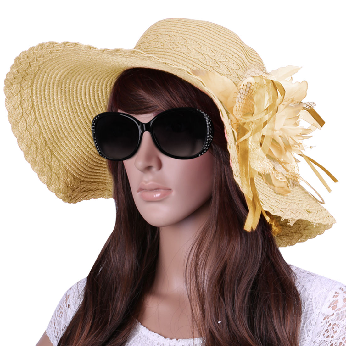 Ladies Round Brim Braid Textured Woven Straw Beach Sun Hat Beige