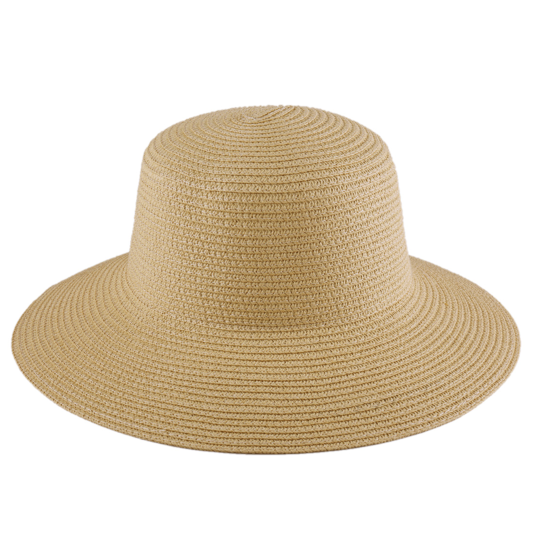 Ladies Khaki Texture Round Brim Breach Wear Straw Hat