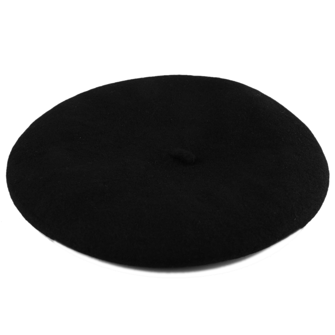 Laides Warm Soft Flexible Wool Classic Style Beret Black