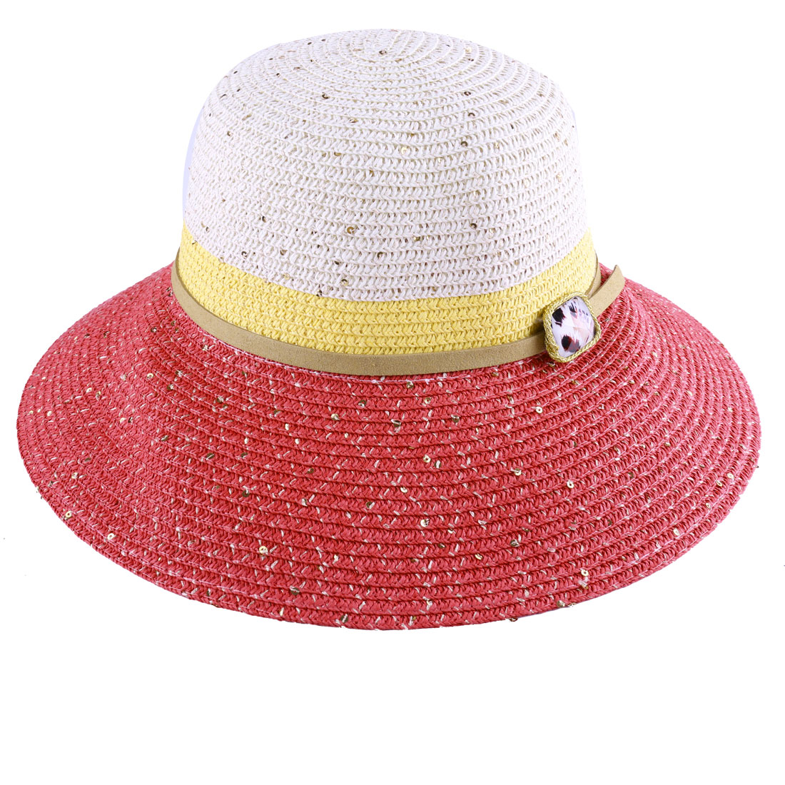Ladies Wide Brim Plastic Diamond Decor Color Block Hat Coral Pink Cream