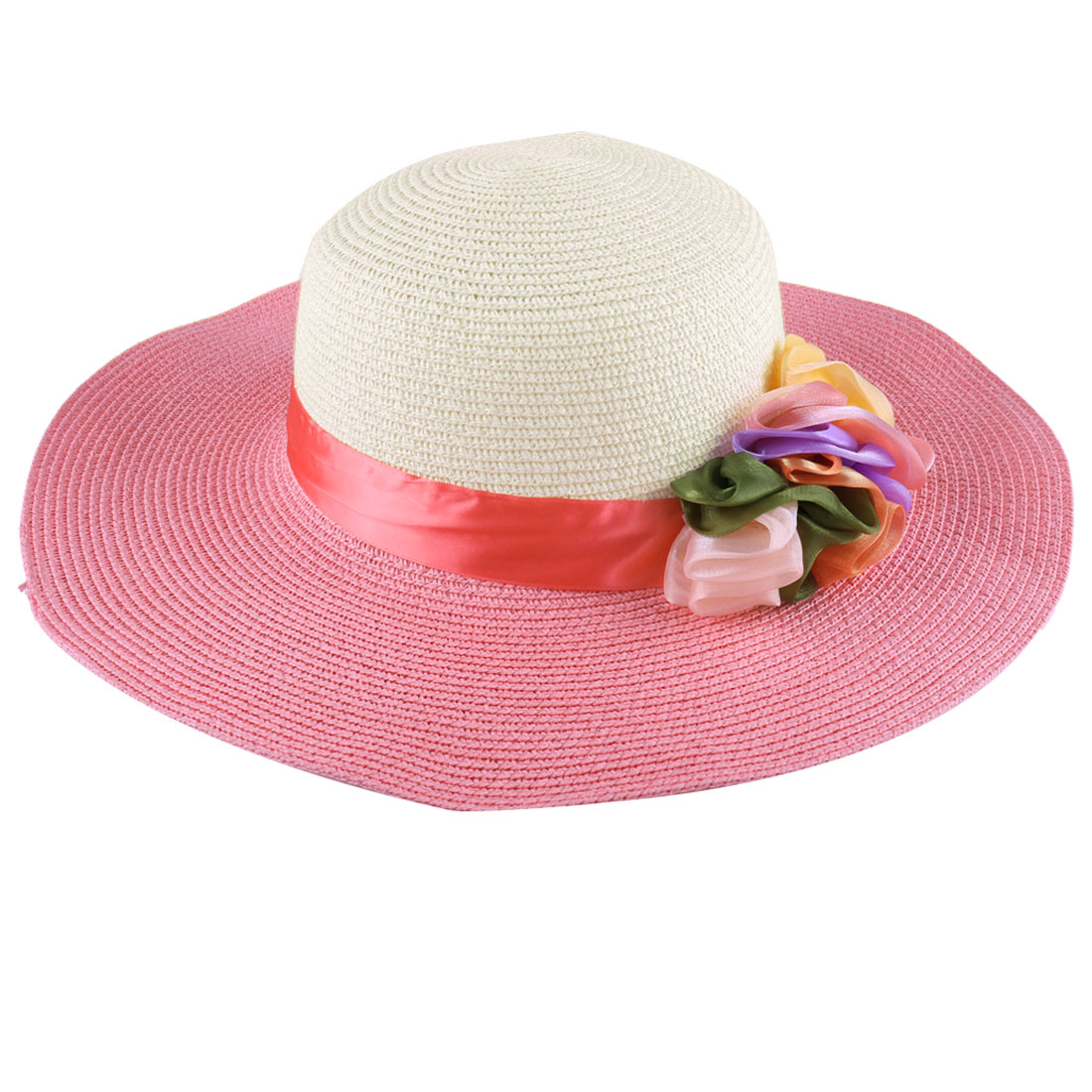 Ladies Fashion Manmade Colorful Flower Decor Coral Pink Off-White Sun Hat