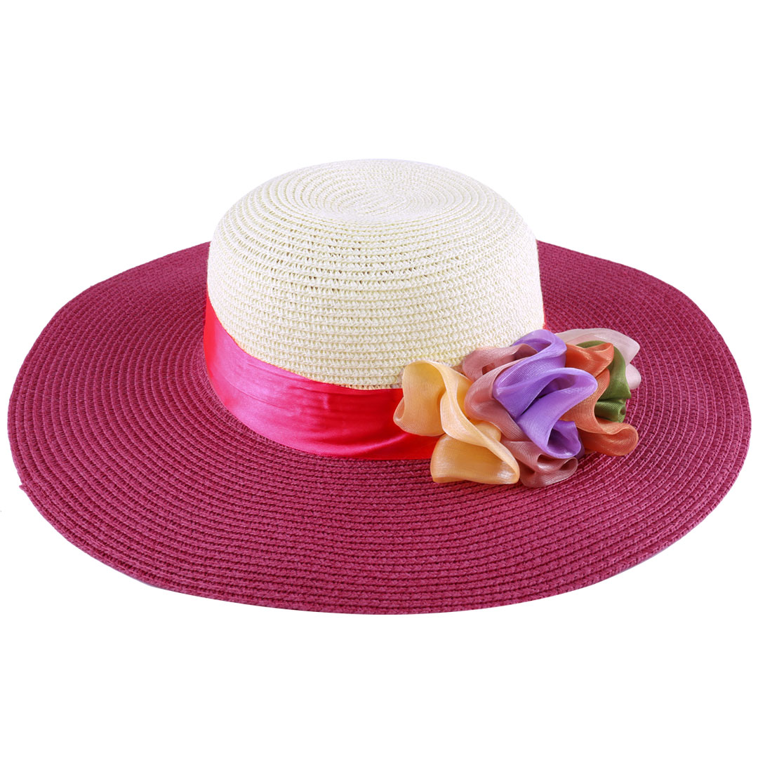 Woman Chic Fuchsia Off-White Two-Tone Manmade Flower Decor Wide Brim Staw Hat