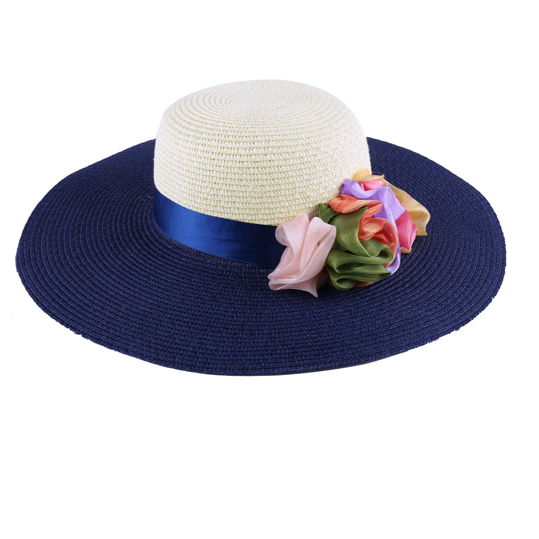 Stylish Ladies Colorful Manmade Flowers Decor Dark Blue Off-White Sun Straw Hat