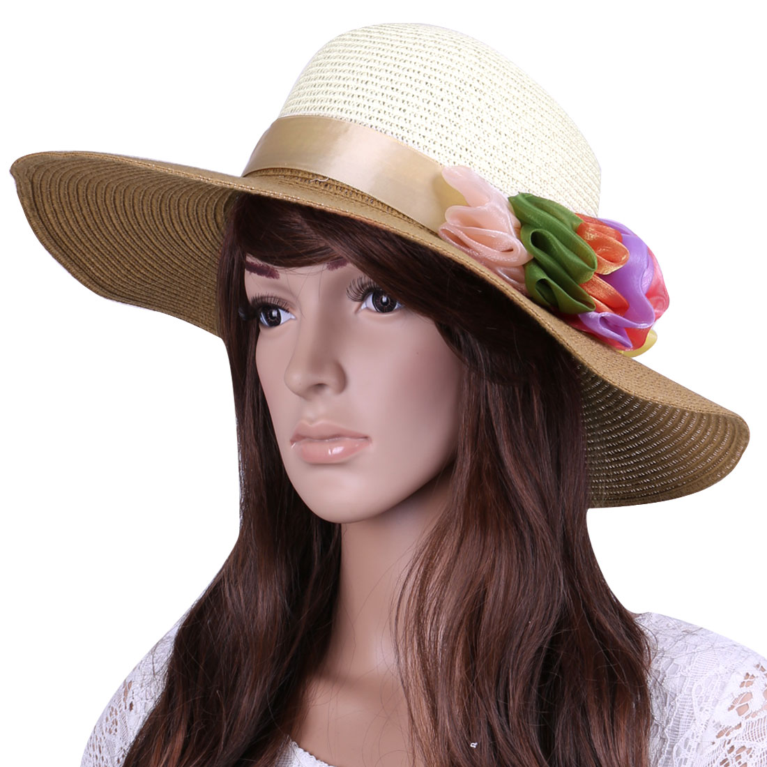 Woman Chic Summer Use Dark Beige Off-White Flower Embellished Sun Straw Hat