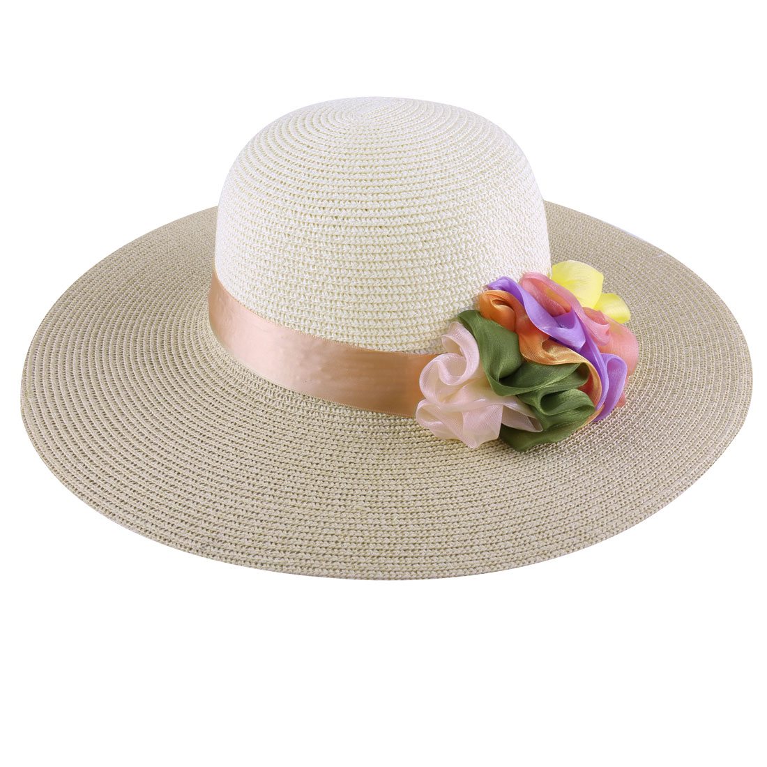 Laides Beige Off-White Two-Color Colorful Handmade Flower Decor Straw Hat