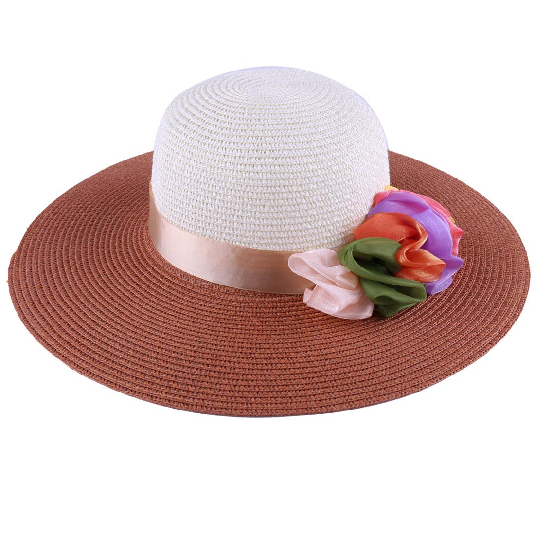 Woman Chic Beach Chic Light Brown Off-White Wide Round Brim Sun Hat