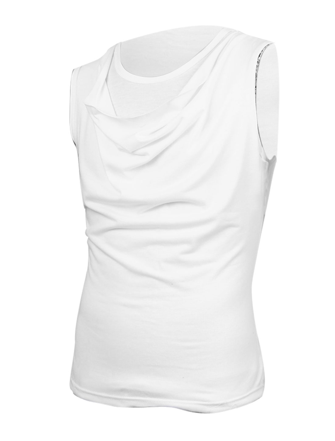 Man Cowl Neck Sleeveless Solid Color Loose Shirt White S