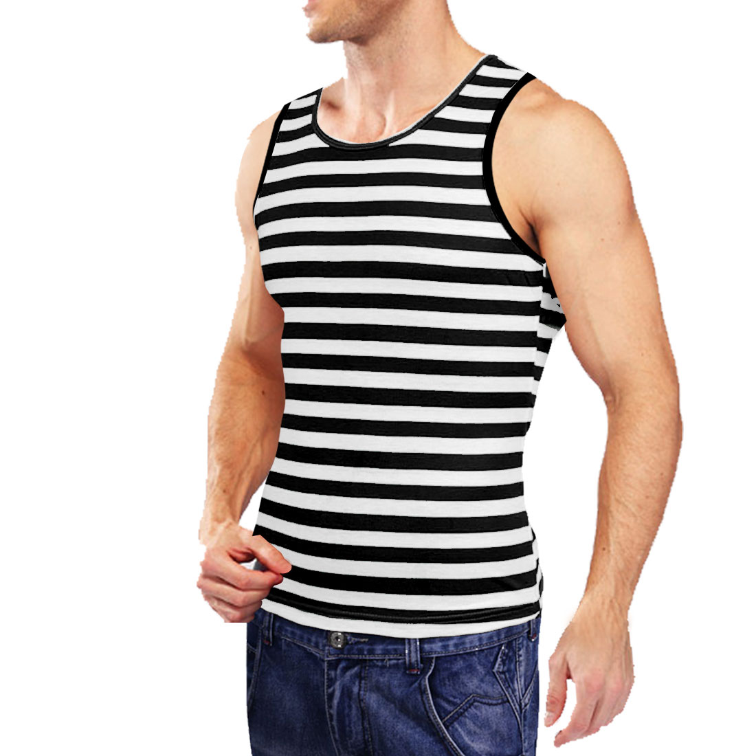 Mens Black White Sleeveless Contrast Stripes Leisure Tank Tops S