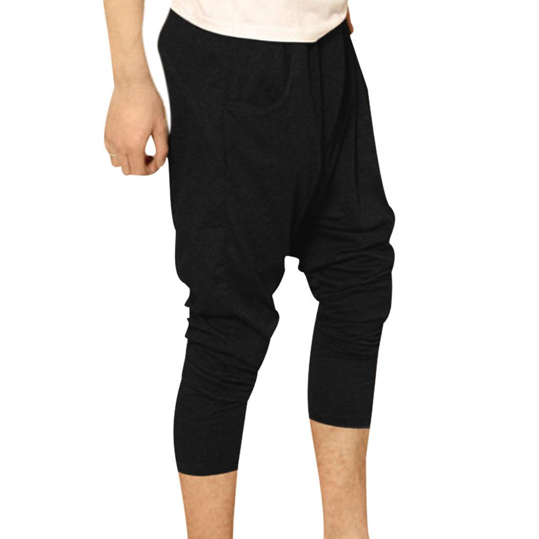 Men Elastic Waist Slant Pockets Letter Prints Harem Pants Black W27