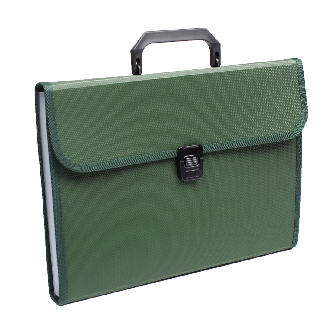 Button Closure Green Plastic File Document Holder Organizer 13 Slot Briefcase