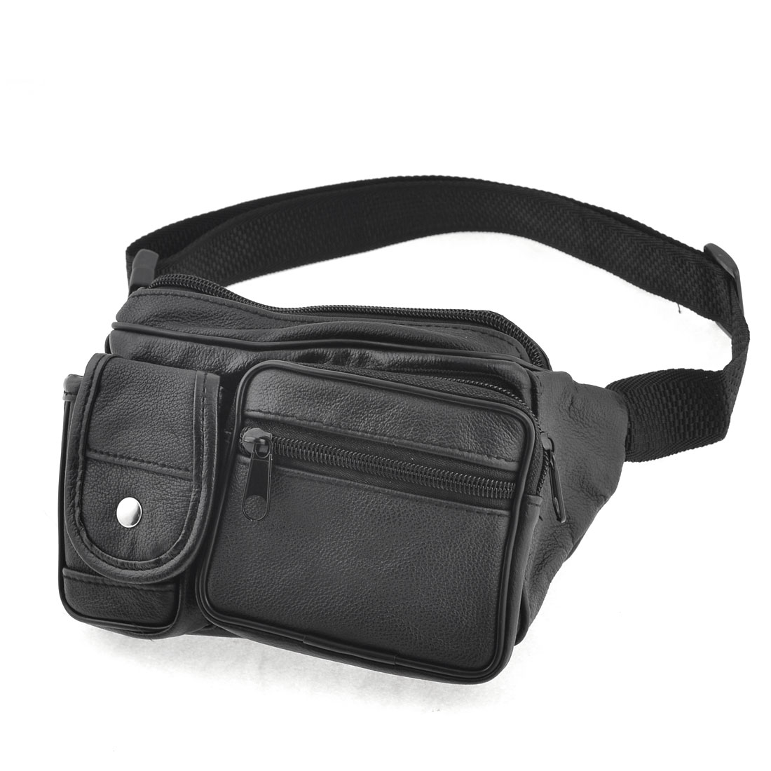 Men Black Black Nylon Belt Zippered 5 Pockets Waist Carrying Bag Pack