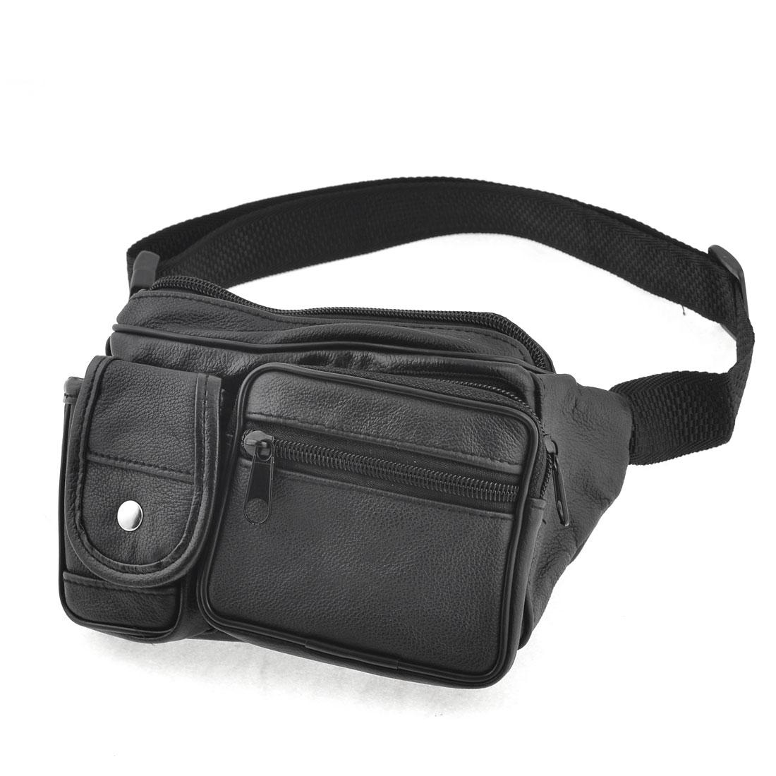 Men Black Black Nylon Belt Zippered 5 Pockets Waist Carrying Bag Pack