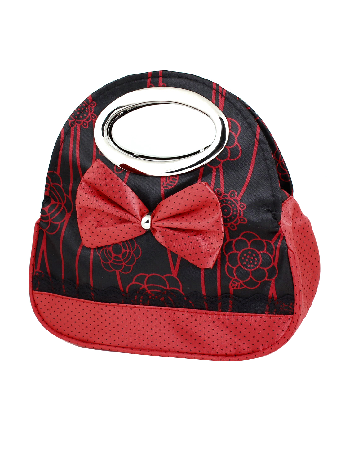 Bowknot Decor Zipper Closure Metal Tote Elegant Bag Handbag Red for Women