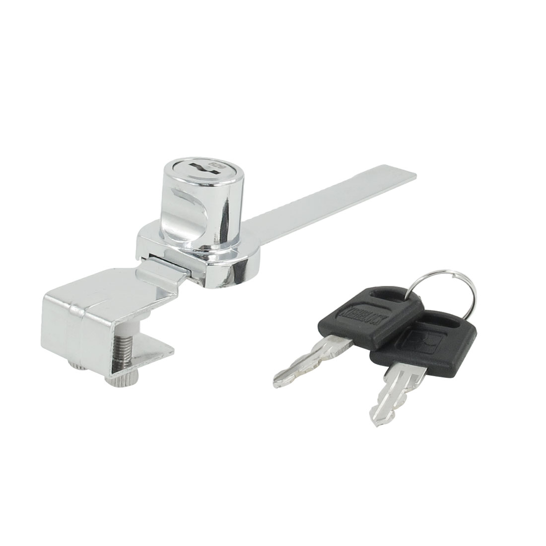 Sliding Silver Tone Glass Drawer Showcase Window Lock w 2 Pcs Keys