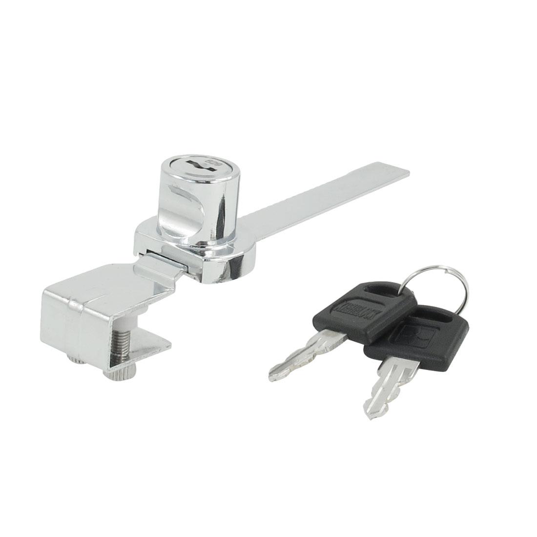 Sliding Silver Tone Glass Drawer Showcase Window Lock w 2 Pcs Keys