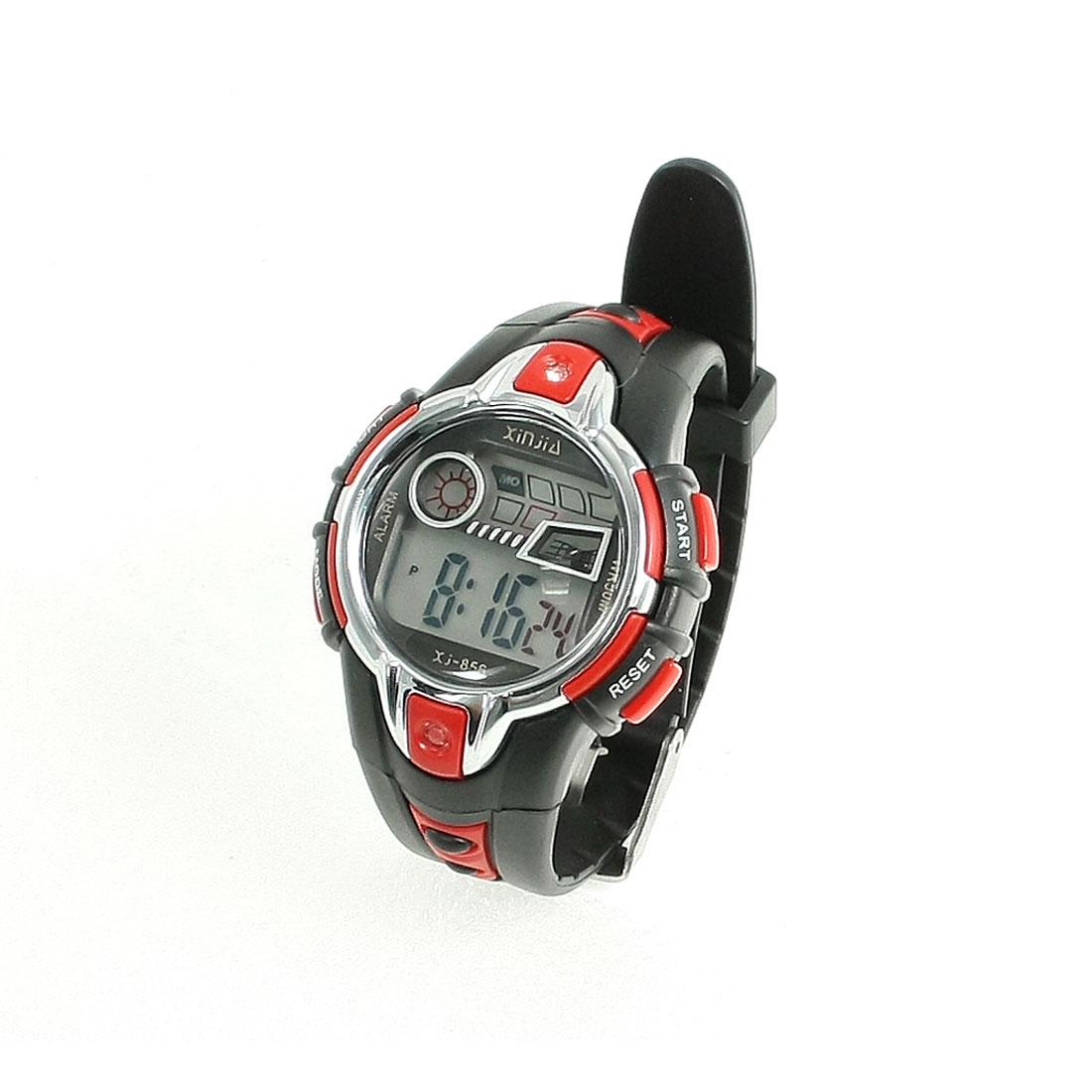 Children LCD LED Digital Screen Alarm Clock Sport Wrist Watch Black Red