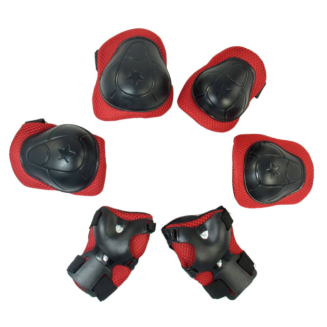 Red Black Elbow Knee Palm Spong Plastic Sports Supporter 3 Pairs